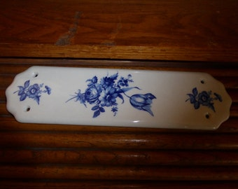 "Vintage Porcelain Door Push Plate White With Blue Flowers 11"" X 4""  1974"