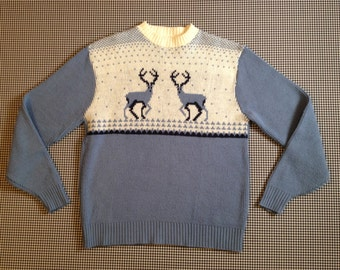 1970's, stag sweater, in periwinkle, Men's size XL(46)