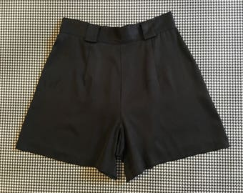 1990's, high waist, satiny, dress shorts, in black, Women's size 6