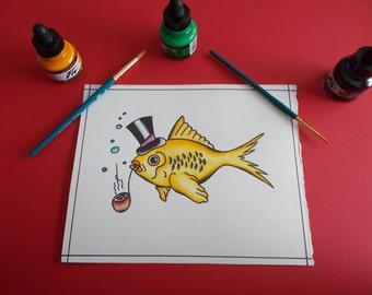 Neo Traditional Tattoo Flash Goldfish,Pipe,Tattoo Art,Tattoo Painting,Tattoo Paint,Tattoo Flash Art,Traditional Tattoo Flash,Fish Painting
