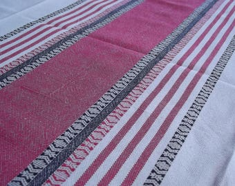 Woven Tablecloth. Linen tablecloth.Handmade tablecloth. Swedish tablecloth. Table decor.Red and black stripes.Swedish Vintage 1970s.