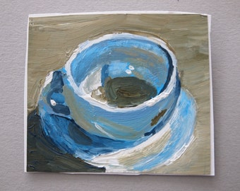 Cup and Saucer Painting, Paper Art, Small Original Artwork Acrylic Paint, Nice Cup of Tea, Blue Grey Kitchen Art