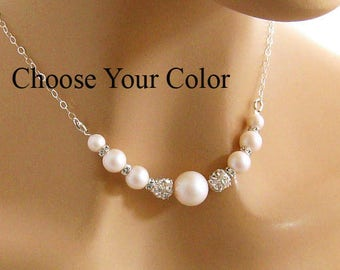 Rhinestone Pearl Necklace, Pearl Necklace, Pearl Wedding Jewelry Pearl Bridesmaid Necklace, Bridal Necklace, Wedding Jewelry Swarovski Pearl