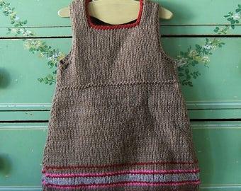 Girls Wool Jumper Dress Hand Knit Peruvian Stripe Toddler Girls Waldorf Style Dress