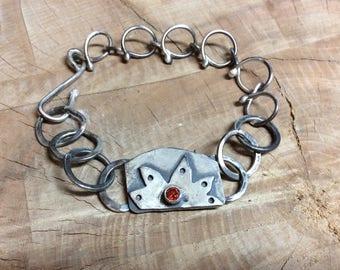 Sterling Garnet Bracelet Sun Design Boho Hippie