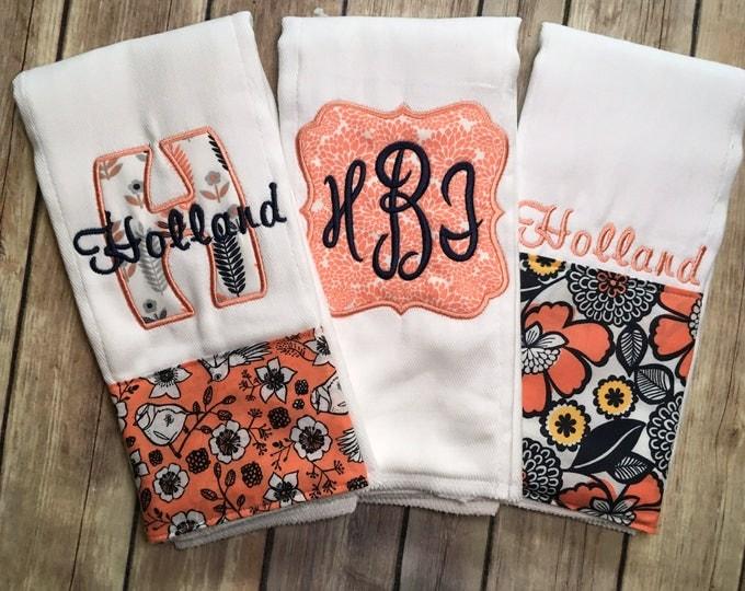Monogrammed Baby Girl Burp Cloth Set, Monogrammed Burp, Monogrammed Girl Burp, Girl Burp Cloth, Baby Girl Gift Set, New Baby Gift, Pink Navy