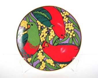 Vintage Barbara Parrot Plate, Australian Bird Salad Plate, Colorful King Parrot Luncheon Plate, Tropical Bird Plate