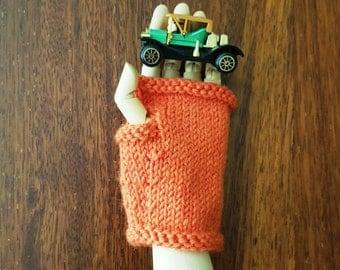 Boys gloves - boys fingerless gloves - warm wool boy mittens - kids fingerless - childs gloves - orange boys wool hand warmers