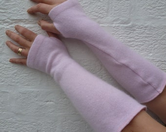 Rose pink cashmere arm warmers long fingerless gloves Boho opera handwarmers elbow length texting musicians gloves romantic gift for her.