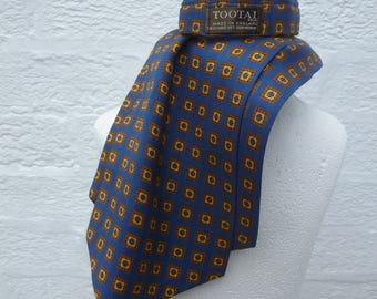 Vintage mens 1950s cravat ascot day necktie scooter gift for him England present vintage birthday gift blue yellow tie cravat classic gents