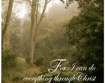 """Magnet, Scripture, Philippians 4:3 """"For I can do everything through Christ who gives me strength."""" original photograph Wing Park Elgin, IL"""