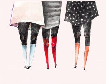 Friends with Hairy Legs. 7 x 5 inch print of original watercolor drawing.