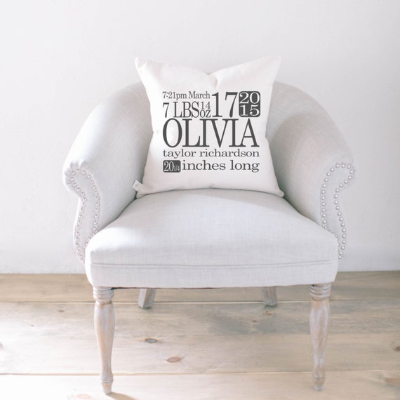 Personalized throw pillow birth stats home decor present like this item negle Images