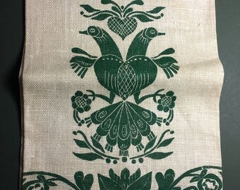 Linen Towel, Hand-Blocked Forest Green Penna Dutch Design on 100% Linen, by Dorothy Kalbach Member of Reading-Berks Guild of Craftsmen