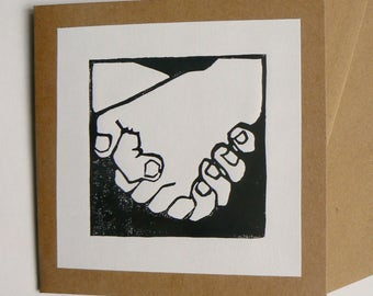 Holding hands, hand printed linocut card