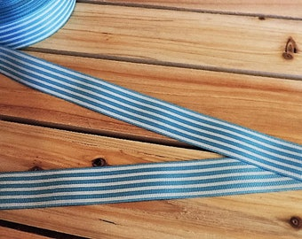 Light blue and white striped ribbon - 3 yards