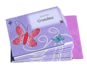 8 Personalized Note Cards with envelopes Any Name printed Thank You cards for kids & adults Purple Butterfly