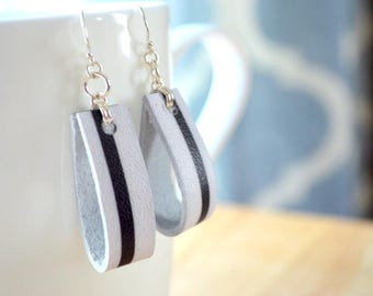 BLACK and WHITE STRIPE Leather Earrings- Black and White Leather- Leather Earrings