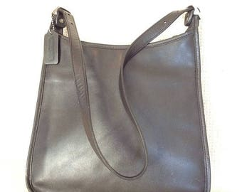 coach black and gray purse vlf2  MOTHERS DAY SALE 20% Vintage Coach black leather top zip shoulder bag purse