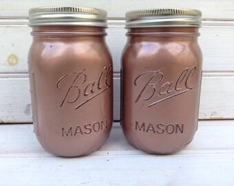 Rose Gold PINT Mason Jars -- Set of 2 distressed metallic copper  - vases, desk organization, home decor, wedding (B003)