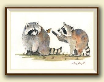 PRINT-Raccoons & butterlfy - raccoon nursery wall decal - print from original watercolor painting  - Art Print by Juan Bosco