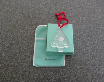 TIFFANY and CO Glass Christmas Tree Ornament with original box and pouch