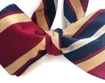 Silk Bow Tie for Men - Collegiate  - One of-a-Kind, Handtailored - Self-Tie - Free Shipping