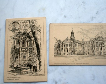 University of Illinois - Vintage Postcards - Unique Ephemera