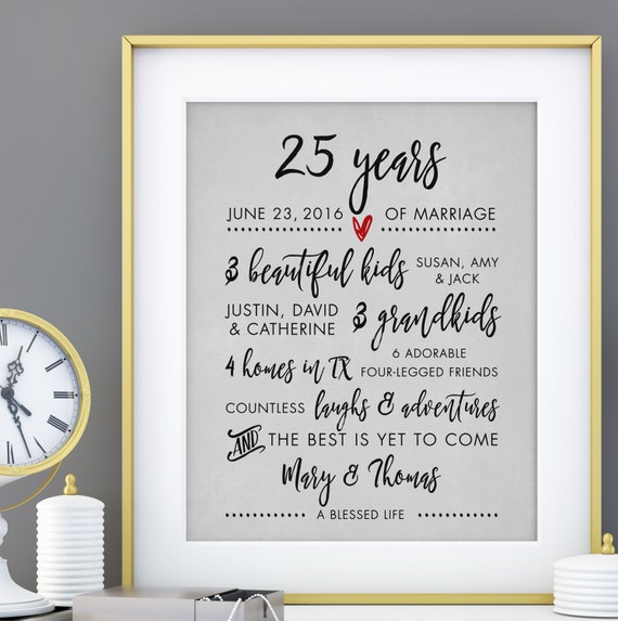 25th Wedding Anniversary Gifts For Wife: PERSONALIZED 25th Anniversary Gift For Wife Personalized Print