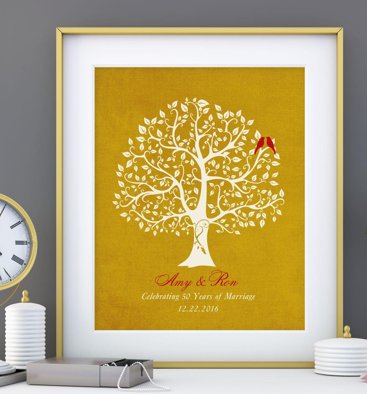 50th wedding anniversary tree gift golden anniversary gift. Black Bedroom Furniture Sets. Home Design Ideas
