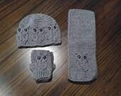 Crochet Owl Hat, Fingerless Gloves & Scarf