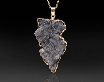 Black Diamond Quartz Crystal Necklace