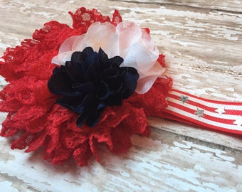 Memorial Day Baby Headband, 4th of July Headband, red white navy blue and silver, stars and stripes, oversized, big fancy, Fourth of July