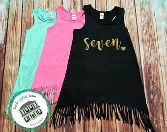 Seven Year Old | Fringe Dress | Fringe Tank | 7th Birthday | Youth | Birthday Dress | Girl Fringe | Glitter | Seventh Birthday | Girl Dress