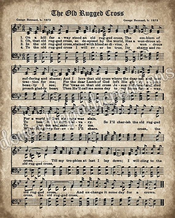 Persnickety image inside old rugged cross printable sheet music