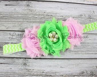 Pink and Lime Green Chevron Headband