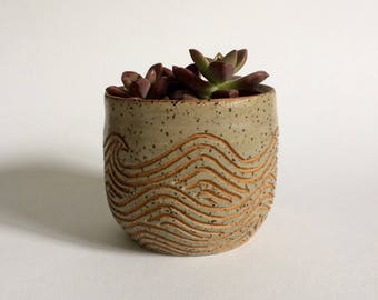 Ceramic Planter Pot with Carved Waves