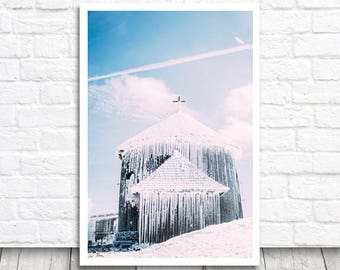 Chapel Print, Winter Photo Print, Sniezka Photograph, Karkonosze Print, Chapel Photo Download, Printable Photo, Snow Wall Art, Snow Print