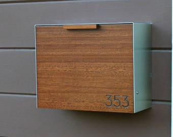 Modern Mailbox Large, Mahogany w/ an Ipe Stain and Stainless Steel Mailbox, Wall Mounted mailbox