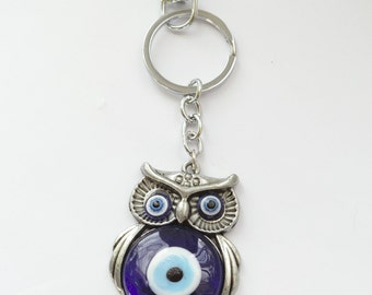 Owl Evil Eye Protection Key Ring, Blown Glass, Blue, Beautiful