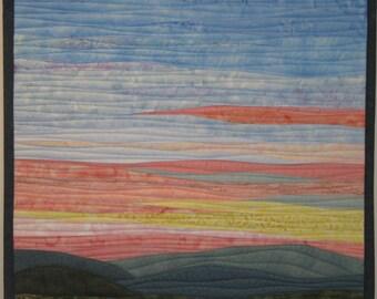 Art Quilt Landscape Sunrise 5 over Hills, Wall Hanging
