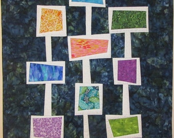 Art Quilt Wacky Colorful Windows, Modern quilt, Abstract quilt, Wonky