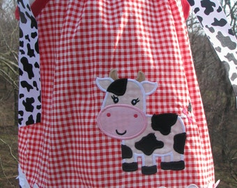 Cute Girl Cow farm pillowcase dress, birthday dress, 1st birthday dress, 2nd birthday dress 3rd birthday dress cowgirl dress, barnyard dress