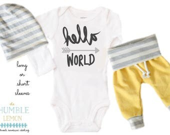 Baby Boy Coming Home Outfit: CHOOSE YOUR COMBO Charcoal Hello World, Yellow, White and Gray Harem Pants and Reversible Slouchy Hat