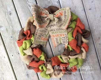Fall Burlap Wreath, Thanksgiving Wreath
