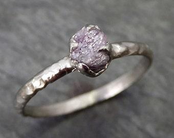 Dainty Raw Rough Pink Diamond Engagement Stacking ring Wedding anniversary White Gold 14k Rustic byAngeline 0267