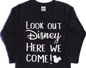 Look Out Disney Here We Come boys girls baby toddler kids magical park trip tee t shirt