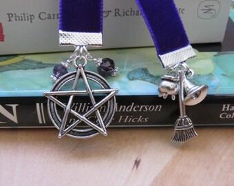Pentacle/Pentagram Book of Shadow/ Wiccan/Pagan Velvet Bookmark