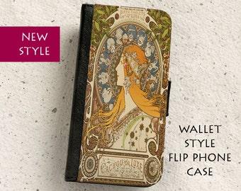 iPhone Case (all models) - Art Nouveau - Alphonse Mucha Zodiac - wallet flip case -  Galaxy S4,S5,S6,S7,S8,S8Plus & more