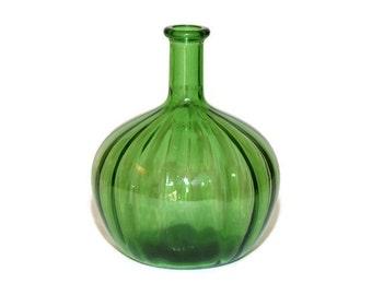 Green Glass Bottle, Round Green Glass Bottle, Green Glass Vase, Green Glass Decanter, Green Optic Glass Bottle, Kelly Green Vase Bottle